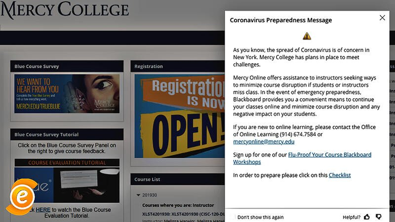 EesyMessage Example from Mercy College about the Corona Virus