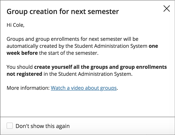 EesyMessage about Group Creation for next semester