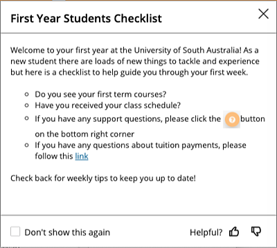 Checklist Message New Students