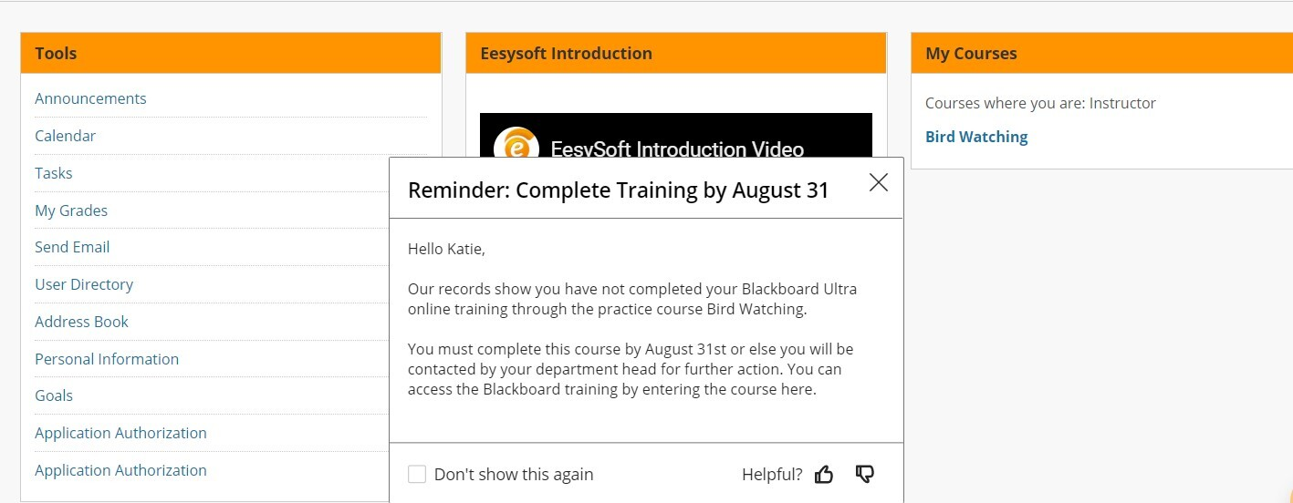 EesyMessage about Training Reminders